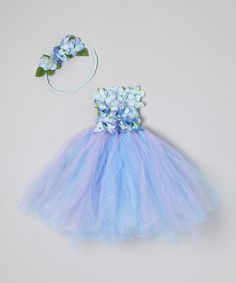 Take a look at this Blue & Green Tutu Dress & Halo by Enchanted Fairyware Couture on #zulily today!