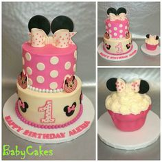 "Minnie Mouse themed 1st birthday cake with coordinating 5"" tall cupcake smash cake."