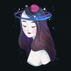 Cosmic Crown Art by m_atelier Sweet Drawings, Art Drawings, Thinking Of You Images, Crown Illustration, Crown Art, Girls Crown, Girl Thinking, Yoga, Psychedelic Art