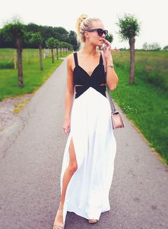 Black and White Maxi Dress with Cut Out and Split. Beautiful and sexy maxi dress that is perfect for a spring summer collection. Season :Summer Pattern Type :Co Sexy Maxi Dress, Dress Skirt, Maxi Dresses, Formal Dresses, Wedding Dresses, Black Women Fashion, All Fashion, White Maxi, White Dress