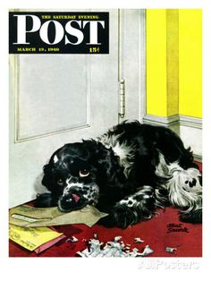 """Butch Chews the Mail,"" Saturday Evening Post Cover, March 13, 1948 Impressão giclée por Albert Staehle na AllPosters.com.br"