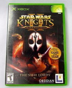 Star Wars: Knights of the Old Republic 2 II Sith Lords (Xbox) Print Star Wars Video Games, Retro Video Games, Knight Games, Sith Lord, The Old Republic, I Am Game, Card Games, Xbox, Stars