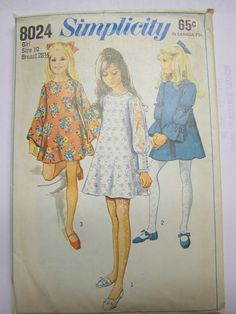 Pretty Vintage 1960s Simplicity 8024 Girl's BELL-SLEEVE Trumpet DRESS pattern size 10 Complete by RaggsPatternStash on Etsy