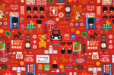 SALE - HALF YARD British Mix Red - Guardsman, Tower London, Queen, Stamp, Union Jack Flag, Underground, Crown, Beefeaters - Japanese Fabric
