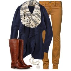Mustard Skinnies and Navy Cardi :)