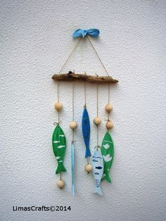 Nautical Wooden Fishes Mobile Custom Wooden Decor by LIMASCRAFTS