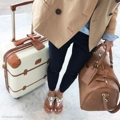 Delsey Chatelet Hardside Spinner Luggage And great travel look with tan leather satchel and casually nice jeans and jacket. Bags Travel, Travel Luggage, Luxury Luggage, Travel Bags For Women, Sac Saint Laurent, Jeweled Sandals, Extra Petite, Luggage Sets, Tweed Jacket