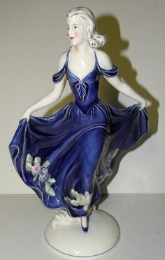 Antique Art Deco Katzhutte Hertwig Made in Germany Dancer in Blue Dress Leg Up | eBay