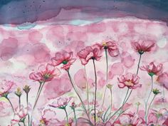 """""""Pretty in Pink"""",celebrating a cool day of Spring. My Spring series, watercolor 2015"""