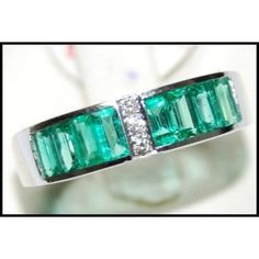 http://rubies.work/0637-ruby-rings/ 18K White Gold Gemstone Natural Diamond Emerald Ring by BKGjewels