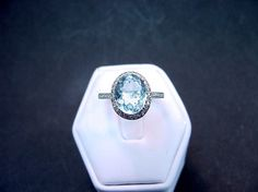 AAAA 3.33 Carat 11 X 8.89mm. Natural Aquamarine set in a 14k White gold ring with diamonds (.30ct) Ring $785 Etsy