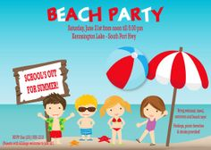 Beach Party Invitation - Kids Pool Party Invitation and/or Birthday Invite