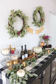 Thanksgiving Sideboard Decor & Entertaining Ideas