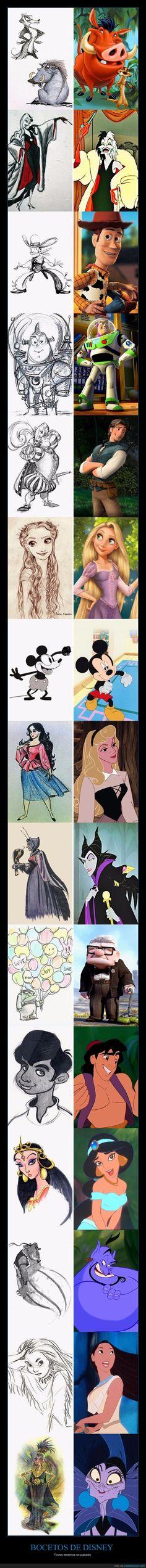 Salen a la luz los bocetos de los principales personajes de Disney - Todos tenemos un pasado