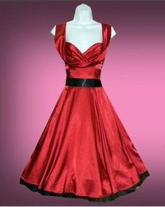 H London Red Satin 50's Swing Dress