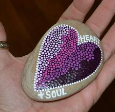 Heart & soul,  painted heart, painted stones,  painted rocks,  pointillism,  dot art,  etsy , etsy shop