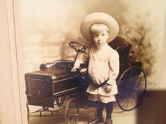 Beautiful Antique Cabinet Photo Victorina Boy with Toy Car