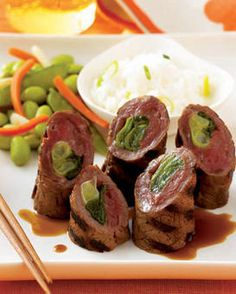 Beef Negamaki: 12 scallions, ends trimmed  4 thin-cut top round steaks (1 to 1 1⁄4 lb)  3⁄4 cup classic stir-fry sauce  3 Tbsp sugar  3 Tbsp water. Microwave scallions in a loosely covered pie plate on high 1 minute to soften. Place each steak between sheets of plastic wrap. Gently pound until about 8 x 6 in. and 1⁄8 in. thick. Lay 3 scallions down length of each piece; tightly roll up from a long side. Secure with wooden toothpicks. Put in a large ziptop bag.  Stir sauce, sugar and water in…