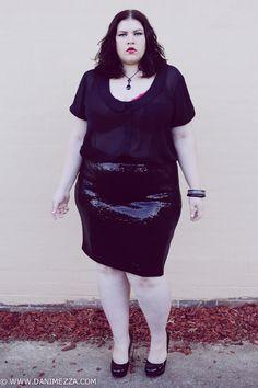 aussie curves plus size danimezza blogger outfit black skirt pencil sheer asos curve simone perele lingerie bra SEQUINS