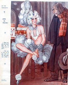 La Vie Parisienne Armand Vallee 1934 Chorus Girl, Music Hall, Cabaret illustrated by Armand Vallée   Hprints.com