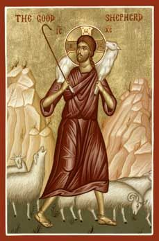 Christ the Good Shepherd Orthodox Icon » Mounted Orthodox Icons of the Lord Jesus Christ » ArchangelsBooks.com