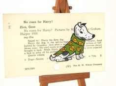 Harry the Dog painted on Library Card Catalog Card  by WingedWorld, $20.00