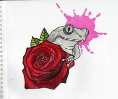 Pink rose Red tattoo frog project