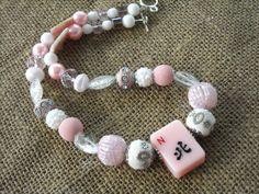 Pink Mahjong Necklace - Mahjong Gift - Jesse James Beads by MahjongJewelry on Etsy