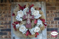 Burlap Deco Mesh Wreath with Red Cross by FosterCreativity on Etsy, $75.00