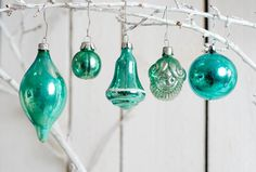 Turquoise glass christmas ornaments, set of 5, balls, bell, icecle, nut, vintage, 1960th