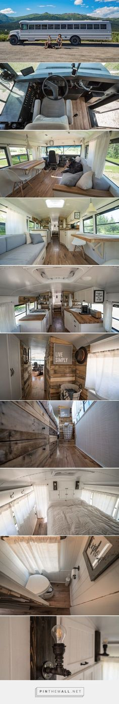 Lovely soft colors and details in your interiors. Latest Home Interior Trends. - Tiny House On Wheels Colors Details Home Interior Interiors Latest Lovely soft Trends Tiny House Blog, Tiny House Living, Tiny House On Wheels, Converted Bus, Bus Living, Casas Containers, Bus Conversion, Tiny Spaces, Lofts