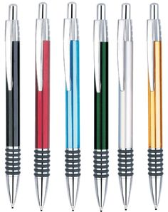 Mechanical Promotional Pencil. Aluminum construction with black ring rubber grip.
