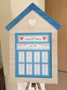 Seaside / beach wedding table plan. Beach hut frame.