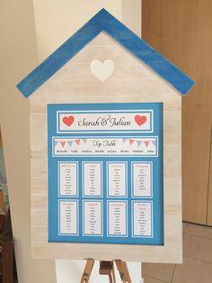 Seaside / beach wedding table plan. Beach hut frame.