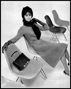 Katherine Pastrie in elegant russet wool dress by Jacques Griffe, worn with beaver scarf and hat, leather handbag by Gaudin, photo by Pottier, 1962