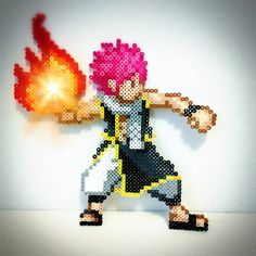 I'm all fired up! #perlerart #perlerbeads #perler #pixelart #pixel #sprite #justnerdthings #anime #animeboy #kawaii #fairytail #natsu #natsudragneel #firedragon#dragonslayer #manga #hama #hamabeads #fusebeads #meltybeads #fire#8bit #cartoon #happy #guild #lucyheartfilia #erzascarlet #erza
