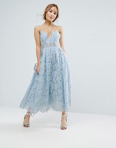 Asos - Petite Lace Cami Midi Prom Dress in light soft blue | lined lace, sheer waist panel, full skirt.