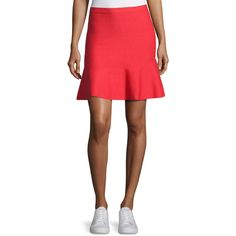 Grey By Jason Wu Knit Fit-&-Flare Miniskirt ($350) ❤ liked on Polyvore featuring skirts, mini skirts, red, women's apparel skirts, knit skirt, red mini skirt, fitted mini skirt, short skirts and knit mini skirt