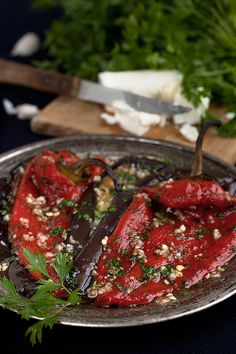 grilled red peppers stuffed with eggplant, galic, oil vinegar....