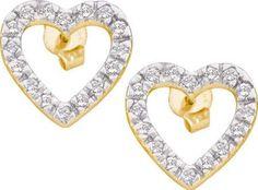 10KT Yellow Gold 0.22CTW DIAMOND HEART EARRINGS