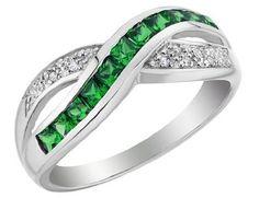 Created Emerald Infinity Ring with Diamonds 2/3 Carat (ctw) in 10K White Gold MyJewelryBox, http://www.amazon.com/dp/B0063AXGJI/ref=cm_sw_r_pi_dp_MyHTqb1CCN6EC