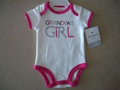 """Carter's Baby Girl Newborn """"Grandpa's Girl"""" One-Piece Outfit, NEW WITH TAGS!!"""