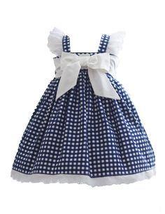 Blue Gingham Dress - Kinder Kouture - August 03 2019 at Little Dresses, Baby Outfits, Little Girl Dresses, Kids Outfits, Girls Dresses, Blue Gingham, Gingham Dress, Navy Blue, Baby Dress Patterns