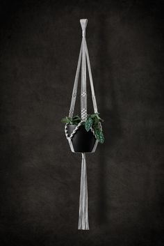 macrame plant hanger, natural cotton, handmade