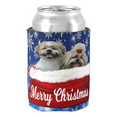 Shih tzu Can Cooler Christmas Can Cooler - home gifts ideas decor special unique custom individual customized individualized