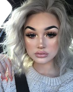 COMMENT '' I know my eyebrows are really dark for my hair no need stick foundation shade ivory brow kit in light My lips are just a lip liner with Cute Makeup, Gorgeous Makeup, Beauty Makeup, Makeup Looks, Hair Beauty, Meg Feather, Light Eyebrows, Blonde Hair Makeup, Long Lasting Makeup