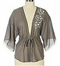 RARE Anthropologie 2008 Greying Oak Kimono Blouse Embroidered Top by Tiny 4 6 S | eBay