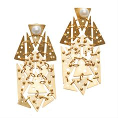 Gold and Pearl Earrings by Paul Mendoza.  Edgy and interesting to look at.