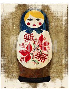 Matryoshka, Russian Doll Katya Premium Giclee Print at Art.co.uk