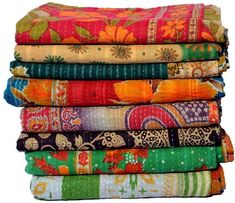 Wholesale Lot Of Indian Vintage Kantha Quilt Handmade Throw Reversible Blanket Bedspread Cotton Fabric BOHEMIAN quilt Kantha Quilt, Bed Quilts, Quilt Bedding, Chic Bedding, Bohemian Quilt, Bohemian Bedspread, Boho, Bohemian Fabric, Cotton Quilts